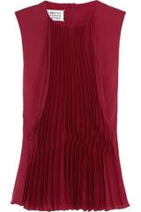 Maison Martin Margiela Pleated Crepe and Silk Top - Lyst