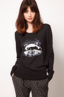 Markus Lupfer Jumper with Sequin Vampire Lips - Lyst