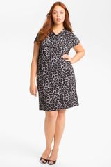 Michael by Michael Kors Print Cowl Neck Shift Dress - Lyst
