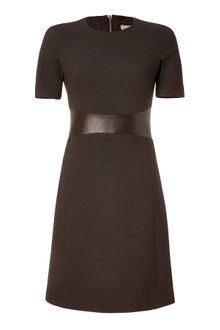 Michael Kors Chocolate Leather Trim Aline Dress - Lyst