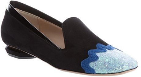 Nicholas Kirkwood Glitter Detail Loafer in Blue (black) - Lyst