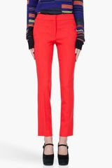 Proenza Schouler Straight Leg Red Wool Pants - Lyst