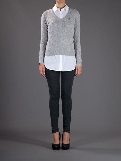 Ralph Lauren Cable Knit Jumper In Gray Lyst