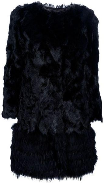 Red Valentino Fur Coat in Black