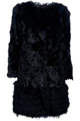 Red Valentino Fur Coat in Black - Lyst