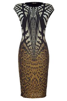 Roberto Cavalli Ecruochre Brown Leopard Printed Dress - Lyst