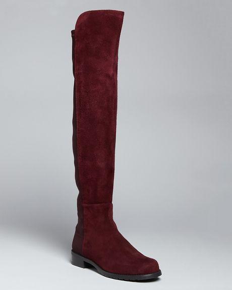 stuart weitzman stretch suede boots in bordeaux