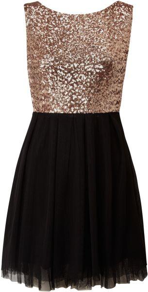 Tfnc Sequin Top Prom Dress in Black