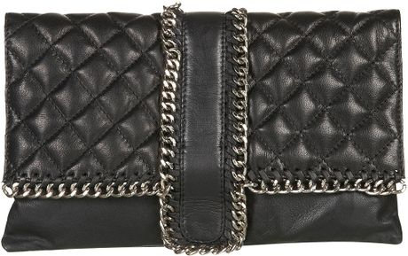 Topshop Leather Quilted Chain Clutch Bag in Black