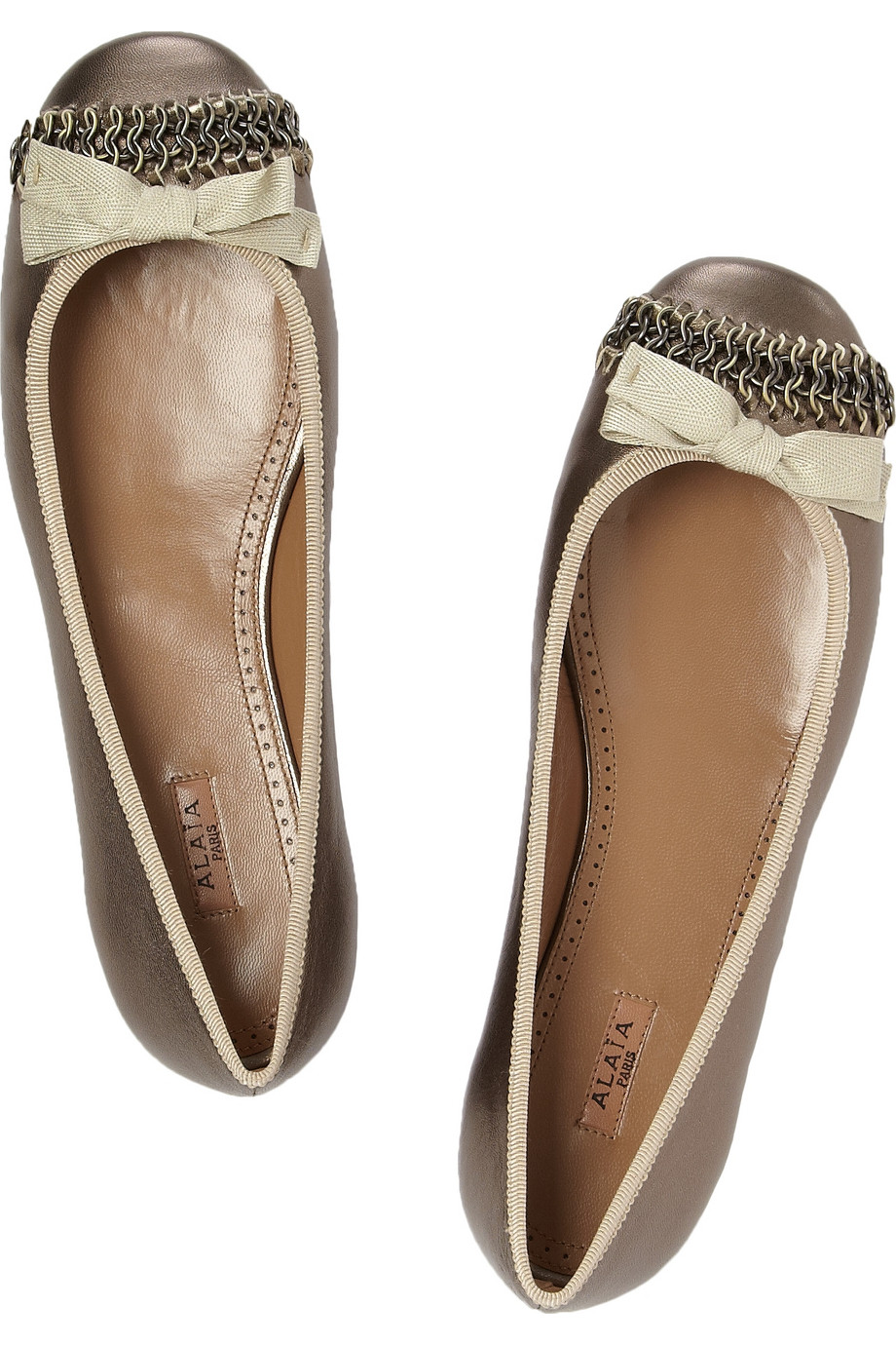 9a873ccf0e40 Shoeniverse  ALAÏA Gold Chain-embellished Metallic Leather Ballet Flats
