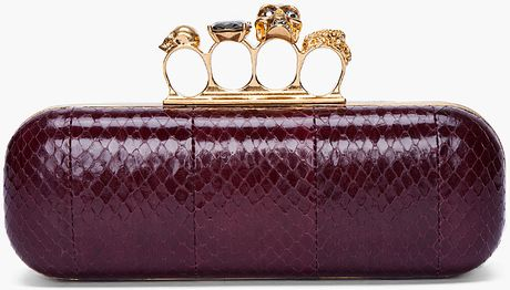 Alexander Mcqueen Burgundy Skull Knuckle Box Clutch in Purple (burgundy) - Lyst