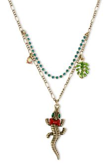 Betsey Johnson Gold Tone Alligator Pendant Necklace - Lyst