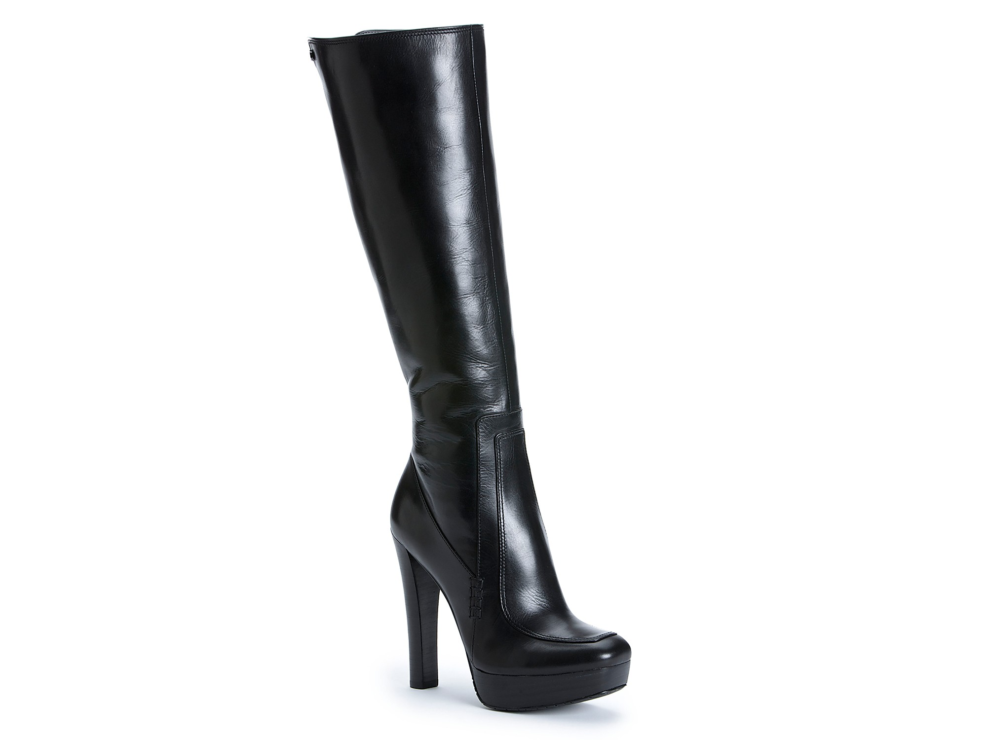 calvin klein britton high heel platform boots in black lyst