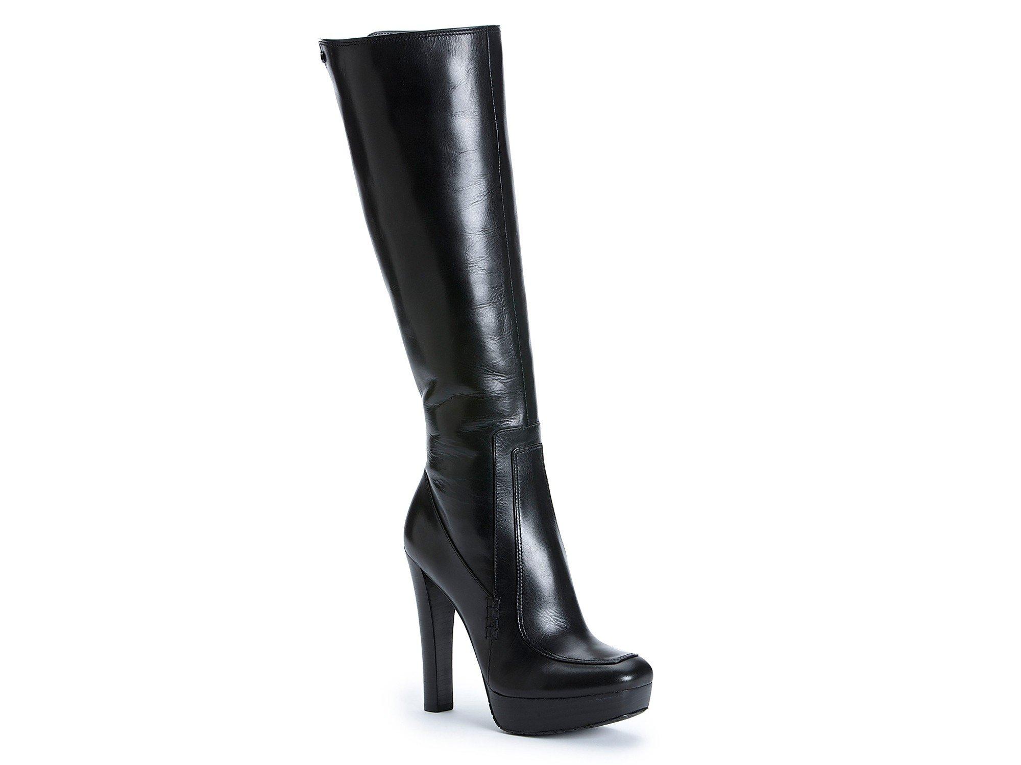 Calvin klein Britton High Heel Platform Boots in Black | Lyst