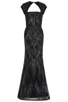 Elie Saab Cap Sleeve Beaded Gown - Lyst