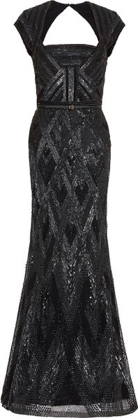 Elie Saab Cap Sleeve Beaded Gown in Black
