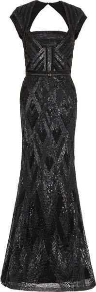 Elie Saab Cap Sleeve Beaded Gown in Black - Lyst