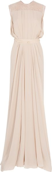 Elie Saab Lace Back Georgette Gown - Lyst
