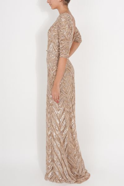 Elie Saab Three Quarter Sleeves Gown in Beige (nude) - Lyst