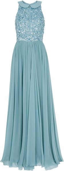 Elie Saab Beaded Top Silk Gown - Lyst