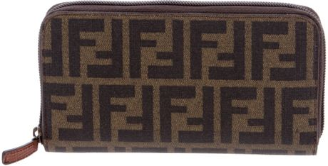 Fendi Monogram Print Wallet in Brown - Lyst