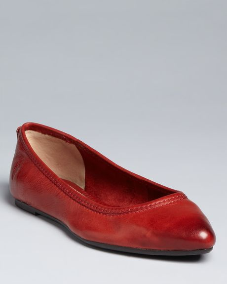 Frye Pointed Toe Ballet Flats Regina in Black (cognac) - Lyst