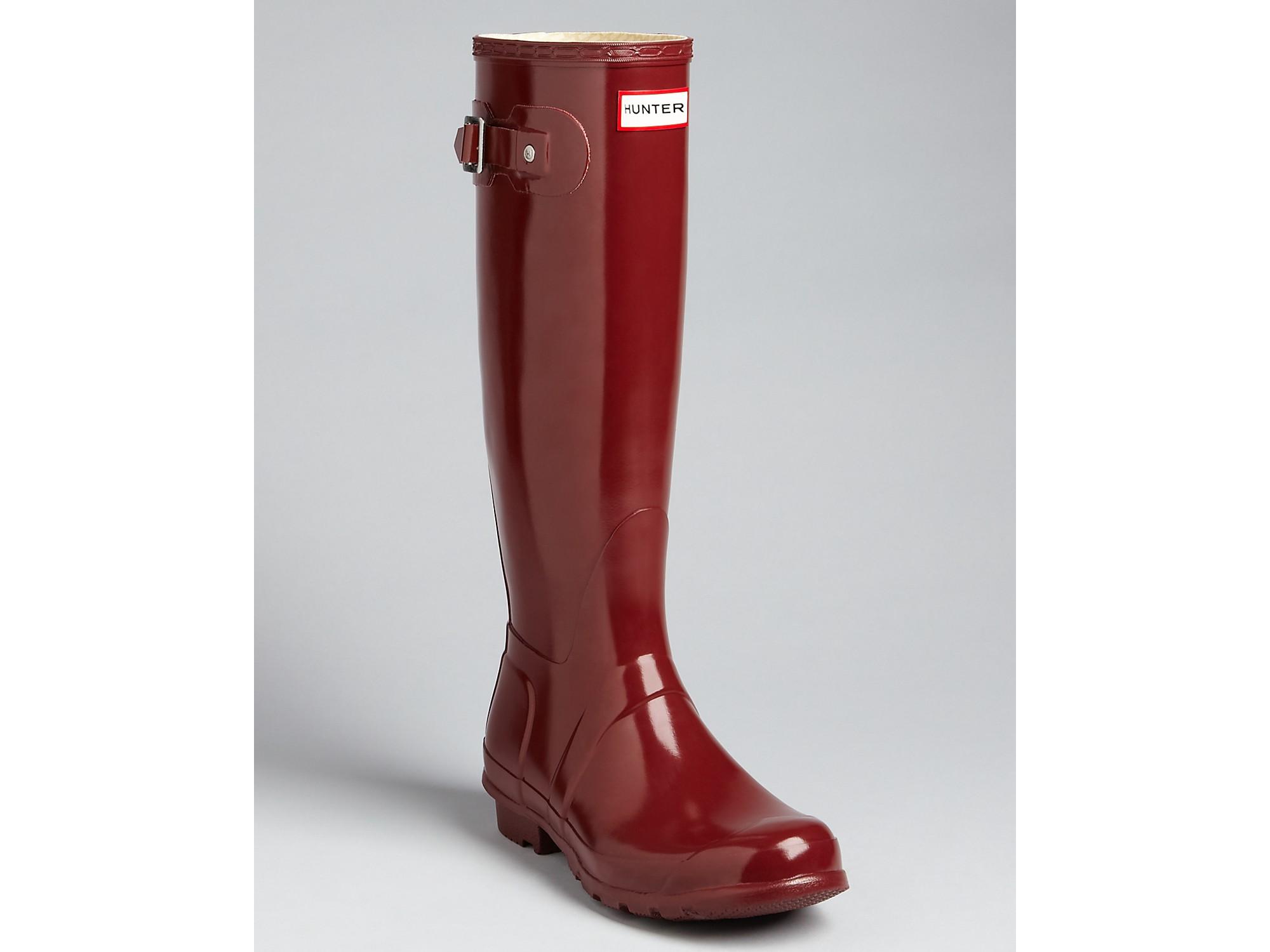 Hunter Rain Boots Original Tall Gloss in Red | Lyst