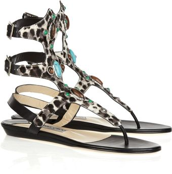 Jimmy Choo Bliss Embellished Calf Hair Sandals - Lyst