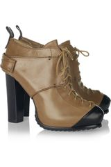 Mcq By Alexander Mcqueen Laceup Leather Ankle Boots in Brown - Lyst