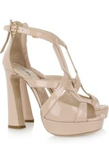 Miu Miu Patent-leather Platform Sandals - Lyst