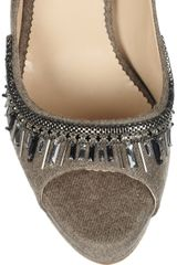 Oscar De La Renta Calvina Embellished Felt Pumps in Brown (taupe) - Lyst