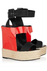 Pierre Hardy Canvas and Patentleather Espadrille Wedge Sandals - Lyst