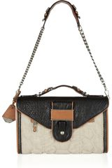 Rebecca Minkoff Rivington Quilted Linen and Leather Shoulder Bag - Lyst