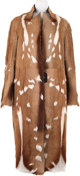 Revillon Maxi Coat in Short Haired Natural Antilop Fur in Brown (natural)