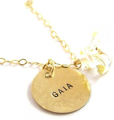 Sari Glassman Charm Necklace Lampwork Personalized 14k Gf in Gold - Lyst