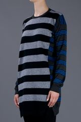Stella Mccartney Striped Sweater in Gray (grey) - Lyst