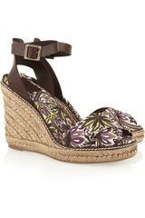 Tory Burch Printed Canvas and Leather Espadrille Wedge Sandals - Lyst