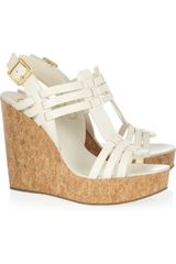 Tory Burch Leslie Leather and Cork Wedge Sandals - Lyst