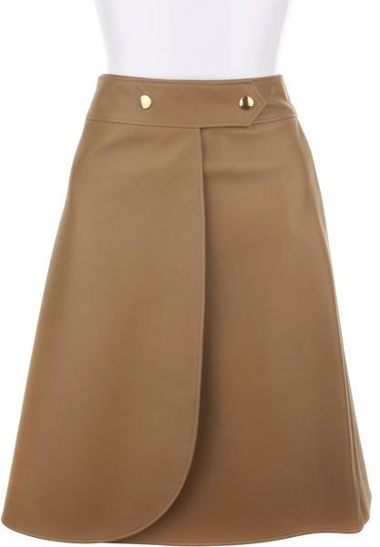Saint Laurent Wrap Around Skirt in Genuine Leather in Beige (leopard) - Lyst