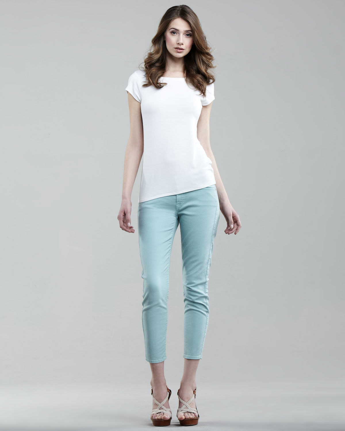 7 for all mankind Cropped Skinny Twill Pants in Blue | Lyst