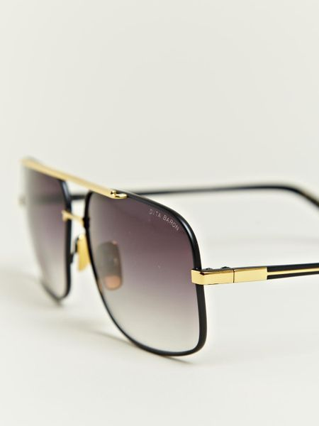 Oversized Gold Frame Sunglasses : Dita Black Eighteen Carat Gold Frame Sunglasses in Black ...