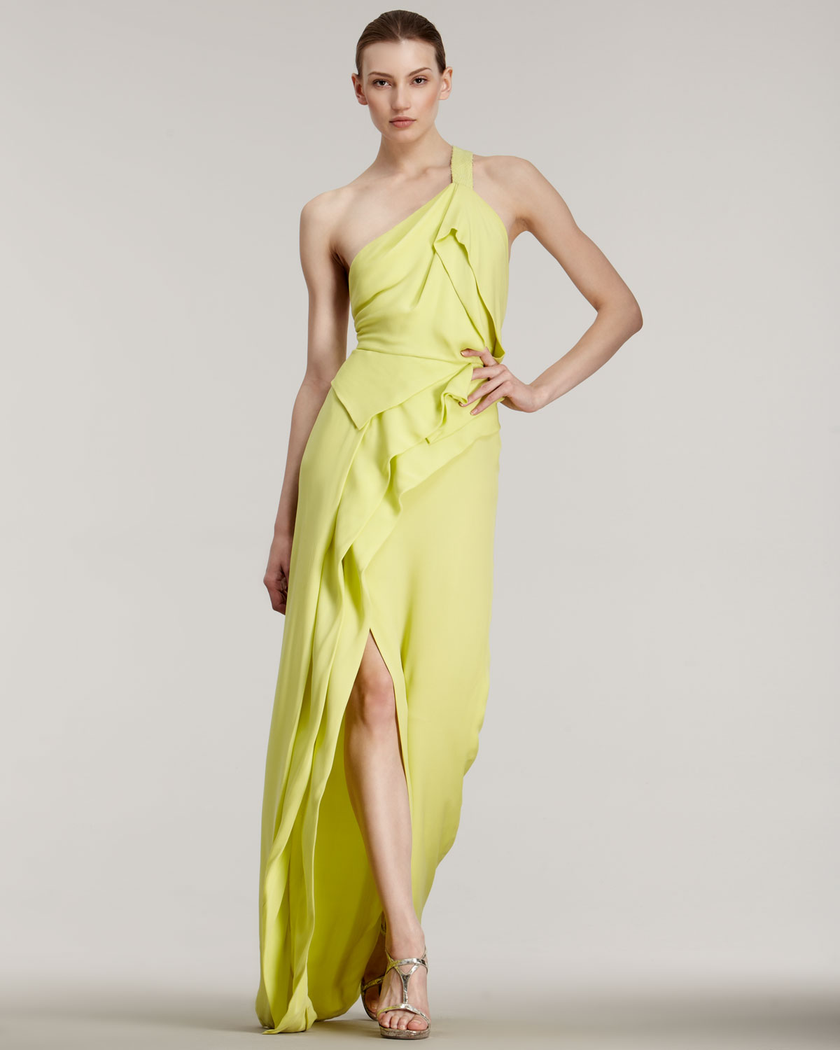 Lyst - J. Mendel One-shoulder Gown in Yellow