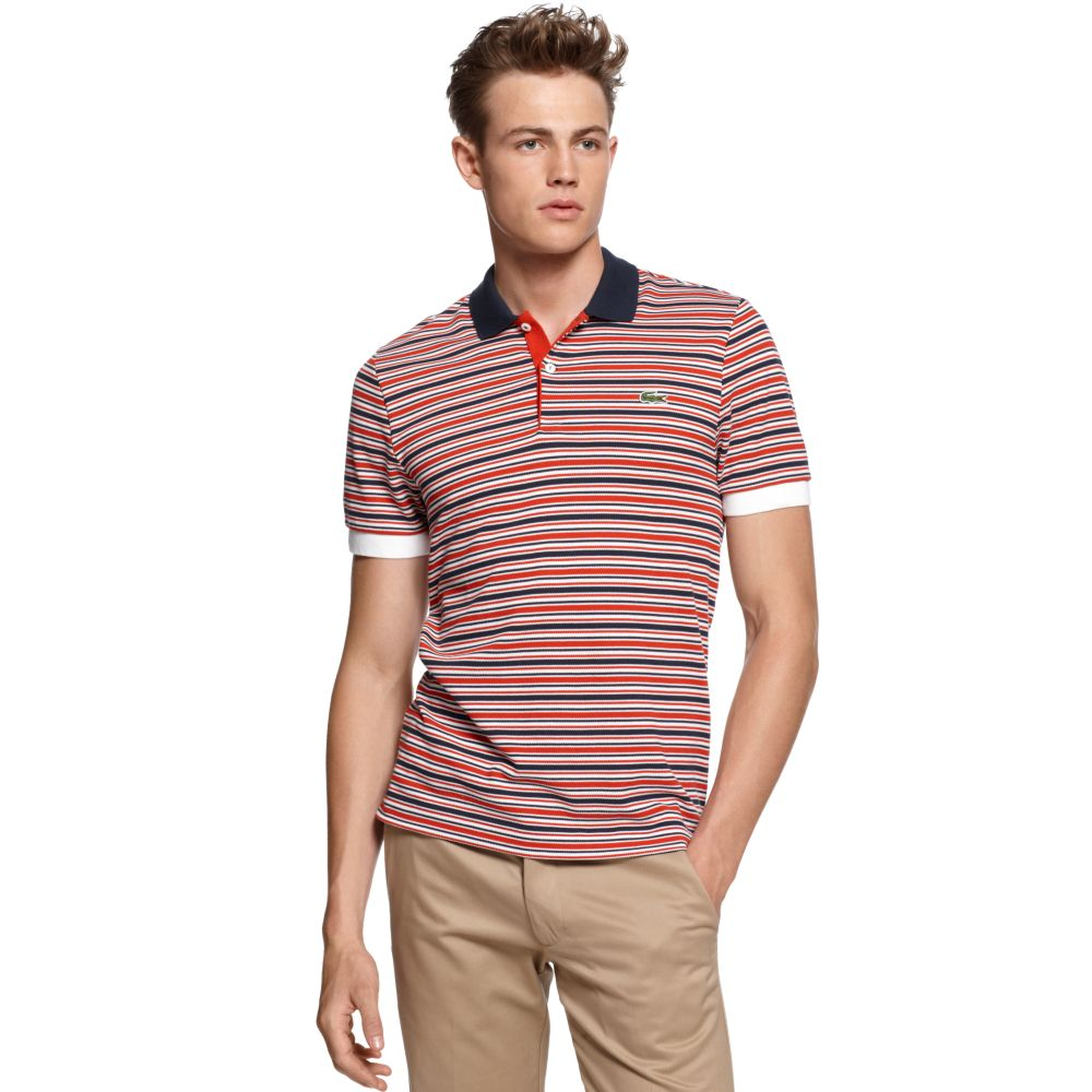 lacoste slim fit striped polo shirt in red for men lyst. Black Bedroom Furniture Sets. Home Design Ideas