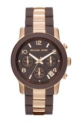 Michael Kors Midsize Brown Silicone and Rose Golden Stainless Steel Runway Chronograph Watch - Lyst