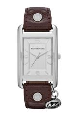 Michael Kors Midsize Chocolate Leather and Silver Color Stainless Steel Threehand Watch - Lyst