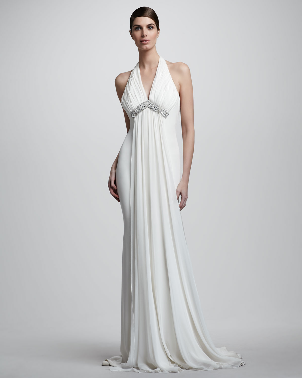 Notte by marchesa Draped Halter Chiffon Gown in White - Lyst