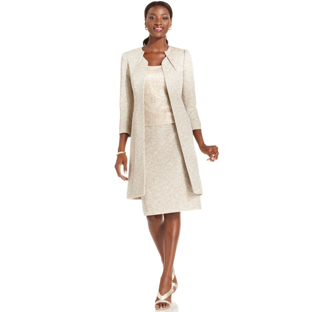 dab06a71f318 Lyst Tahari By Asl Suit Metallic Tweed Long Jacket Lace S. Gallery. Lyst  Tahari Asl Collarless Embellished Beaded Skirt Suit In White