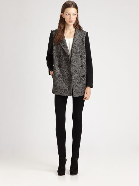 Tibi Bonded Tweed Peacoat in Gray (black) - Lyst