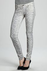 7 For All Mankind The Skinny Papyrus High Gloss Snake-print Jeans