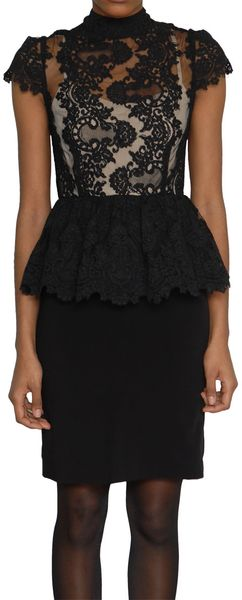 Alice + Olivia Short Dress in Lace and Jersey - Lyst